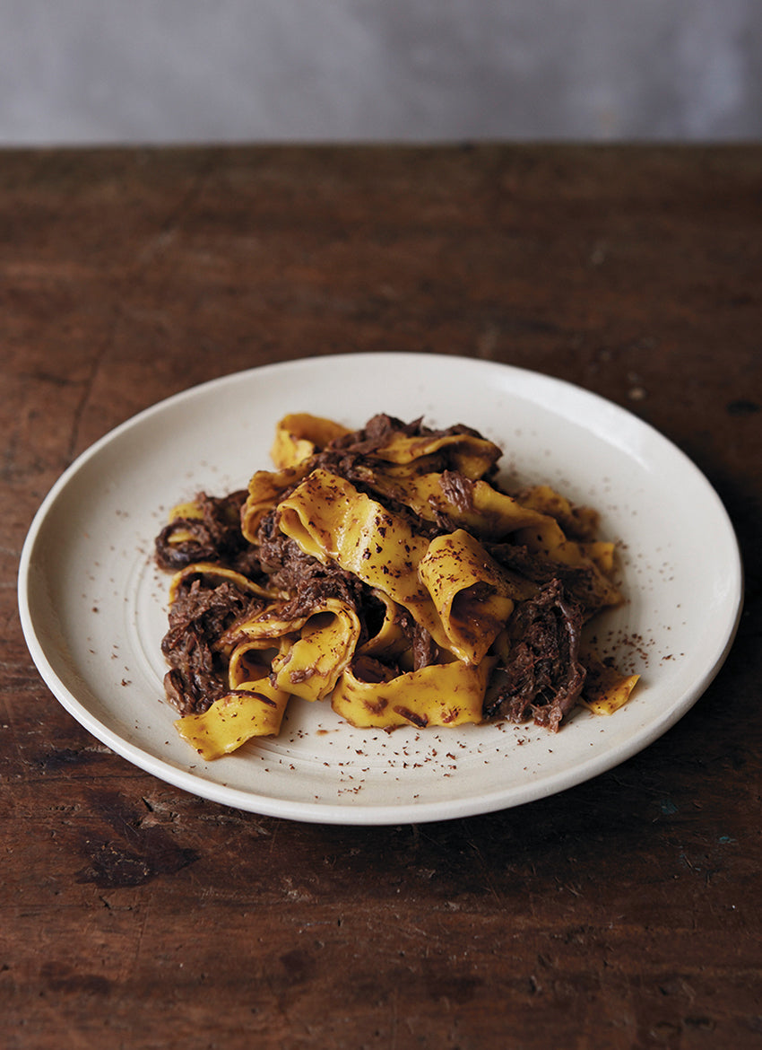 Pappardelle with hare, red wine & cacao regù