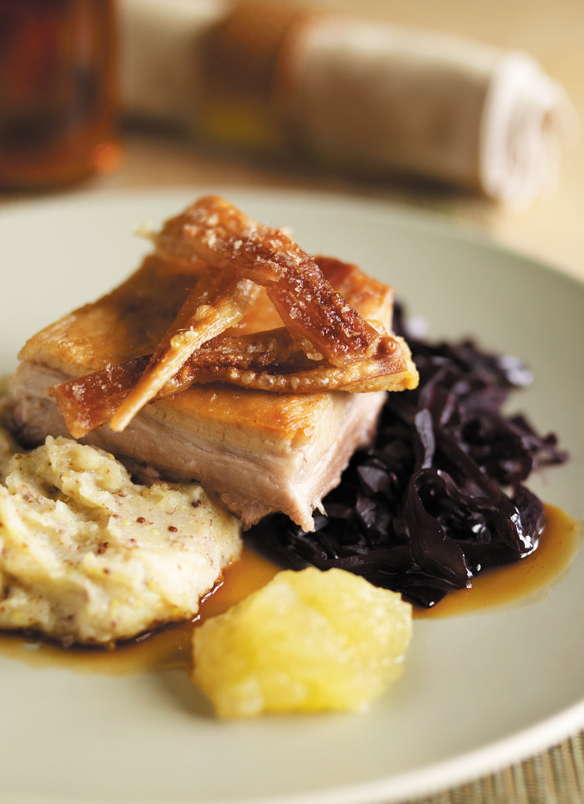 roast belly pork with mustard mash and braised red cabbage