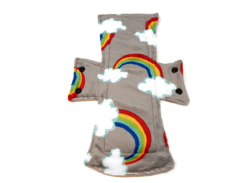 Rainbows & Clouds Minky Single Night/Postpartum Pad