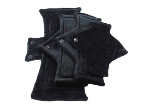 Solid Jet Black Bamboo Starter Set Size Sampler - Tree Hugger Cloth Pads