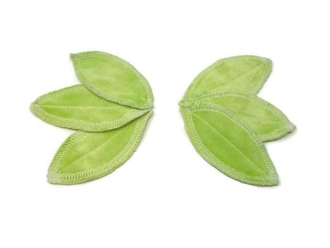 Leaf Pad Boosters -Spring Green Bamboo Velour - Tree Hugger Cloth Pads