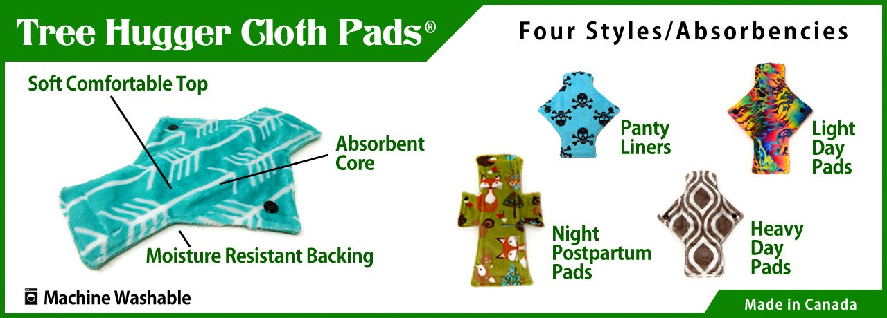 Reusable cloth menstrual pads made in Winnipeg Manitoba Canada