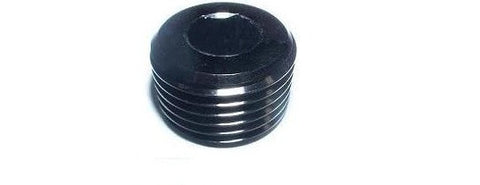 "Black anodized 1/2"" NPT compact plug with allen wrench head"