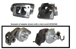 Manifold Adapter,T3 flanged turbo twinscroll GT30R to bolt up to Stock EVO8/9