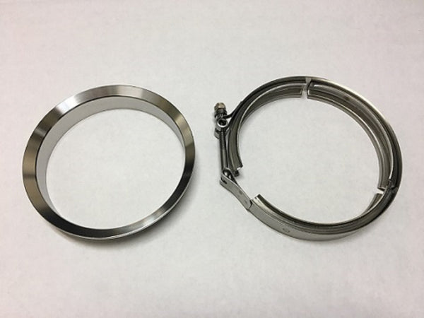 "5"" MARMON Stainless Downpipe Flange & Clamp GARRETT T6 DIVIDED TBN HSG on GT42 GT45"