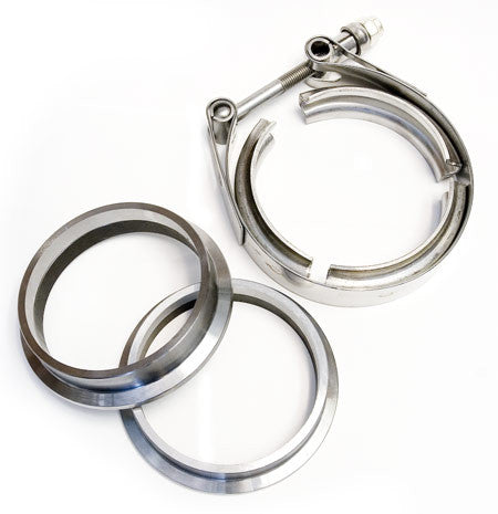 "3"" V-band Flange/clamp SET Flat Machined STAINLESS (3.75 OD Flanges / Grooved for 3"" Tube)"
