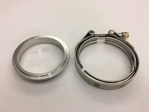 "Stainless DOWNPIPE Flange and Clamp set 3"" GT V-band (w/protruded lip at ID) 3.55"" / 90mm OD / 81mm Recessed lip"
