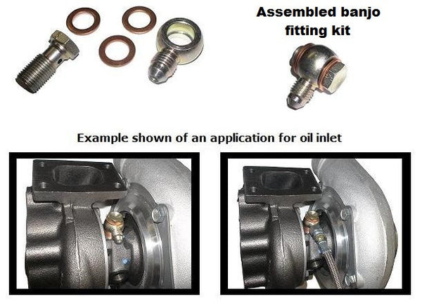 RESTRICTOR Banjo style low profile -4 AN oil feed kit, incl. bolt, GT25 GT28 GTX28 GT30/35 GTX35