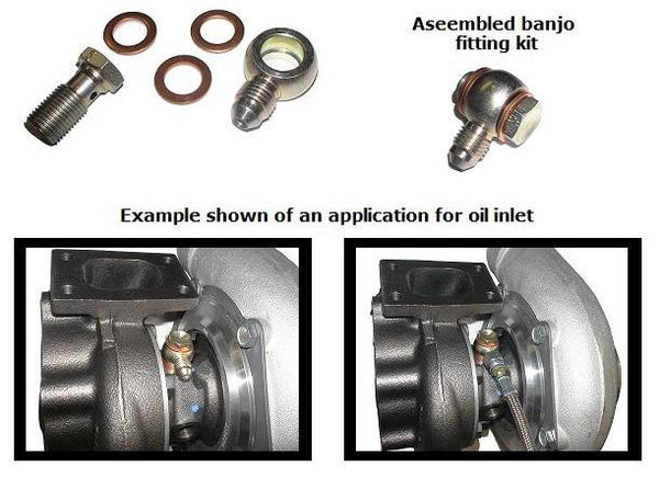 Banjo fitting 12mm hole with -4 AN male flare kit, including bolt and washers for GT25R through GT35