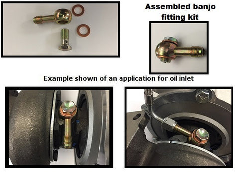 *RESTRICTOR* LONG Banjo style low profile -4 AN oil feed kit, incl. bolt, GT25 GT28 GTX28 GTX30/35