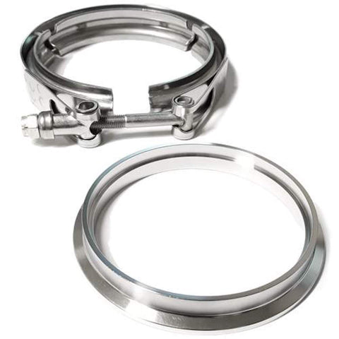 "4"" Stainless Downpipe Flange and Clamp Borg Warner T4 housing on S400 Series S SX SX-E S400 S400SXE"