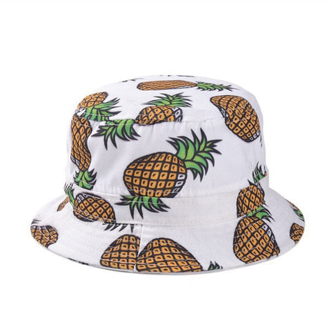 White Pineapple Printed Bucket Hat - Apparel, planetlucid - Planet Lucid,  - accessories