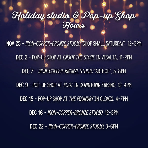 2017 Holiday Studio & Pop-up shop hours and locations