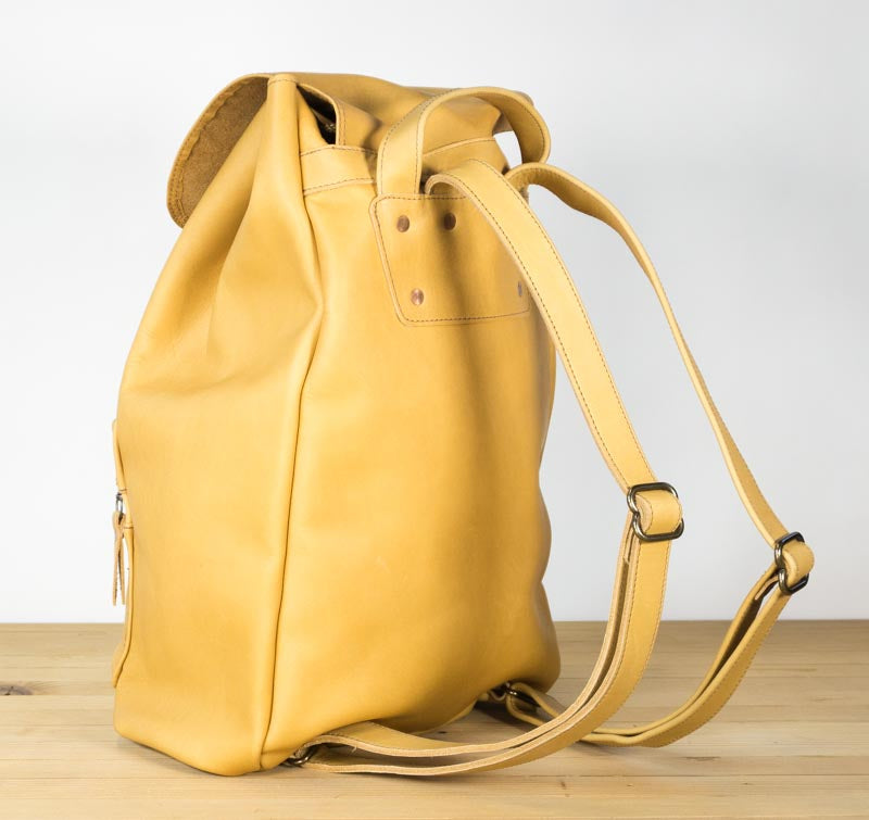 1a5caa244 All leather backpack in butter yellow - Iron+Copper+Bronze