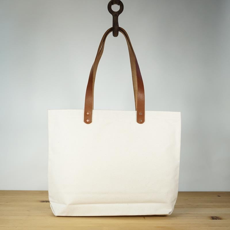Canvas tote bag with leather straps - Iron+Copper+Bronze 2d2aa7cf0992
