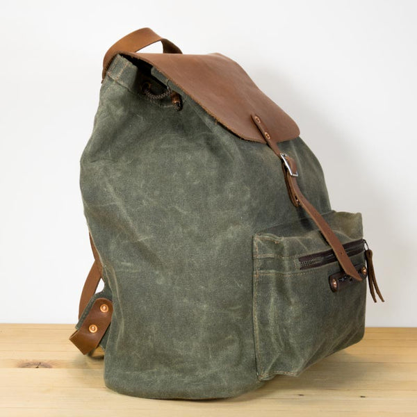 2129322ff Green Canvas backpack - Iron+Copper+Bronze