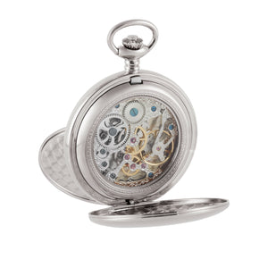 Large Chrome Skeleton Pocket Watch