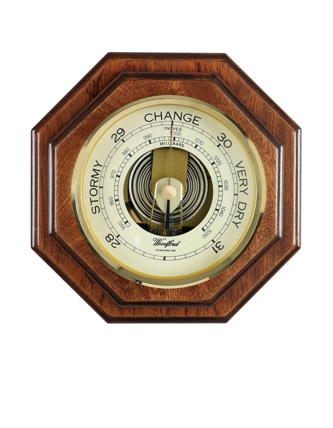 Large Traditional Wood Wall Barometer