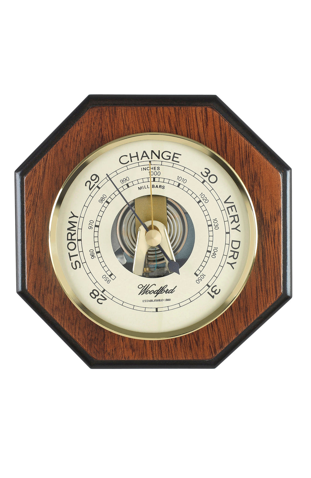 Octagon Shaped Wooden Wall Barometer
