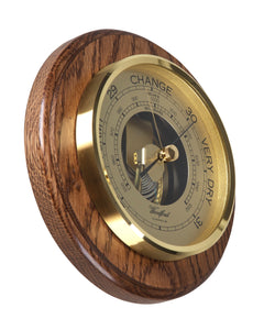 Traditional Round Barometer in Solid Wood Oak