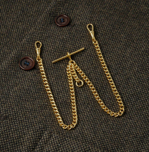 Rolled Gold Double Albert pocket watch chain