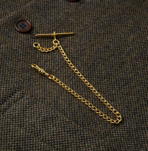 Single Albert Gold Plated Pocket Watch Chain