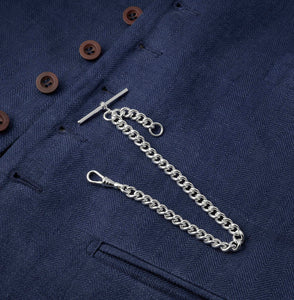 Large Single Albert Silver Plated Pocket Watch Chain