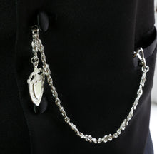 Load image into Gallery viewer, Single Albert Pocket Watch Chain with Shield Fob