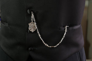Single Albert Pocket Watch Chain with Decorative Fob