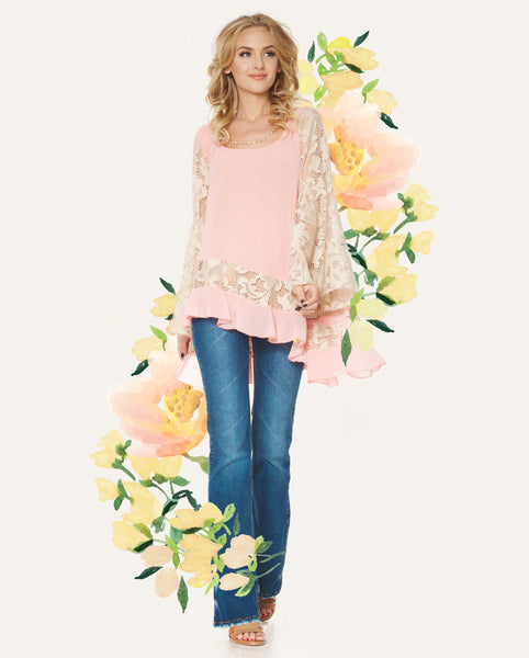 2tee Couture Spring 2016 Lookbook - Ashley Pink Chiffon and Lace Top