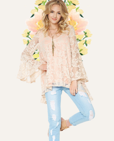 2tee Couture Spring 2016 Lookbook - Lauren Nude Lace Boho Top