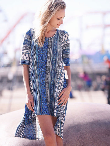 2tee Couture Summer 2016 Photoshoot Longline Tshirt Dress Bohemian  print