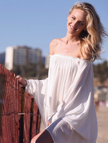 2tee Couture Summer 2016 Photoshoot Breeze Oversized Off the Shoulder Linen Beach Dress