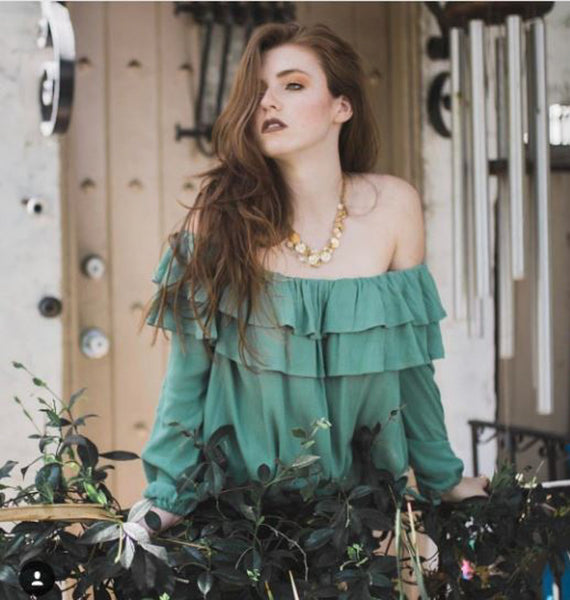 @ellysarose in Noa Elle Sydney Top in Sage