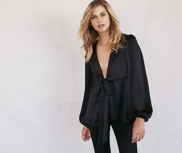 Noa Elle Holiday 2016 Lookbook Black Satin light jacket deep v top