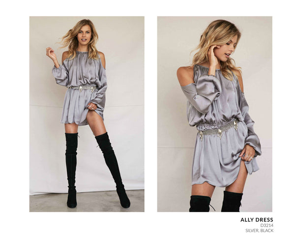 Noa Elle Holiday 2016 Lookbook Silver Satin Dress with Thigh High Boots
