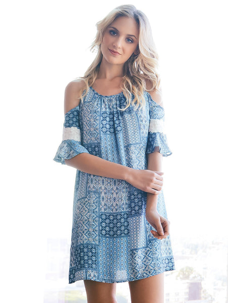 2tee Couture Jessie Dress with Blue Patchwork Print