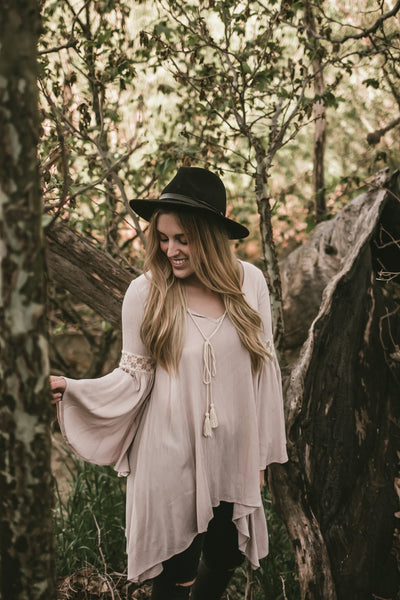 @kendallbaggerly in Noa Elle Lotus Tunic Clay