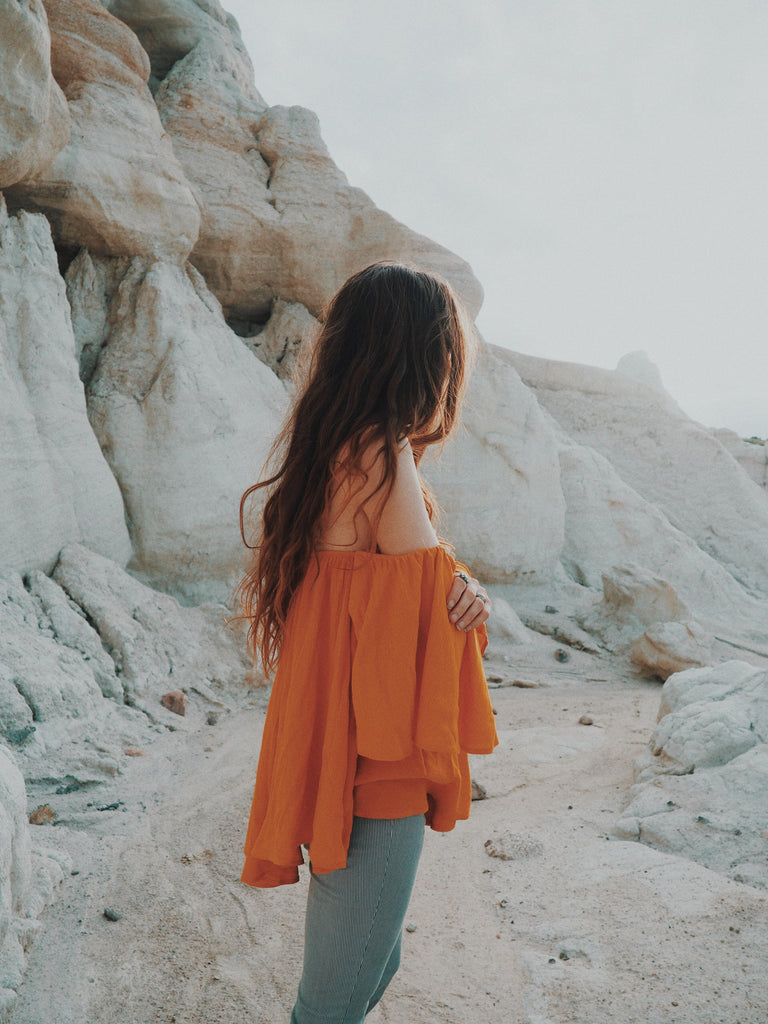Maisy Moon wearing Noa Elle Rumor Top, Off the shoulder ruffle top, Colorado Mountains