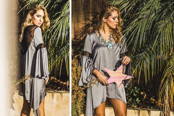 Dancing with Flying Colors Noa Elle Holiday 2016 Lookbook, Silver and Lace Melody Tunic