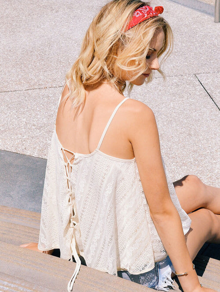 Back Detail of Noa Elle Lace Up Natalie Camisole