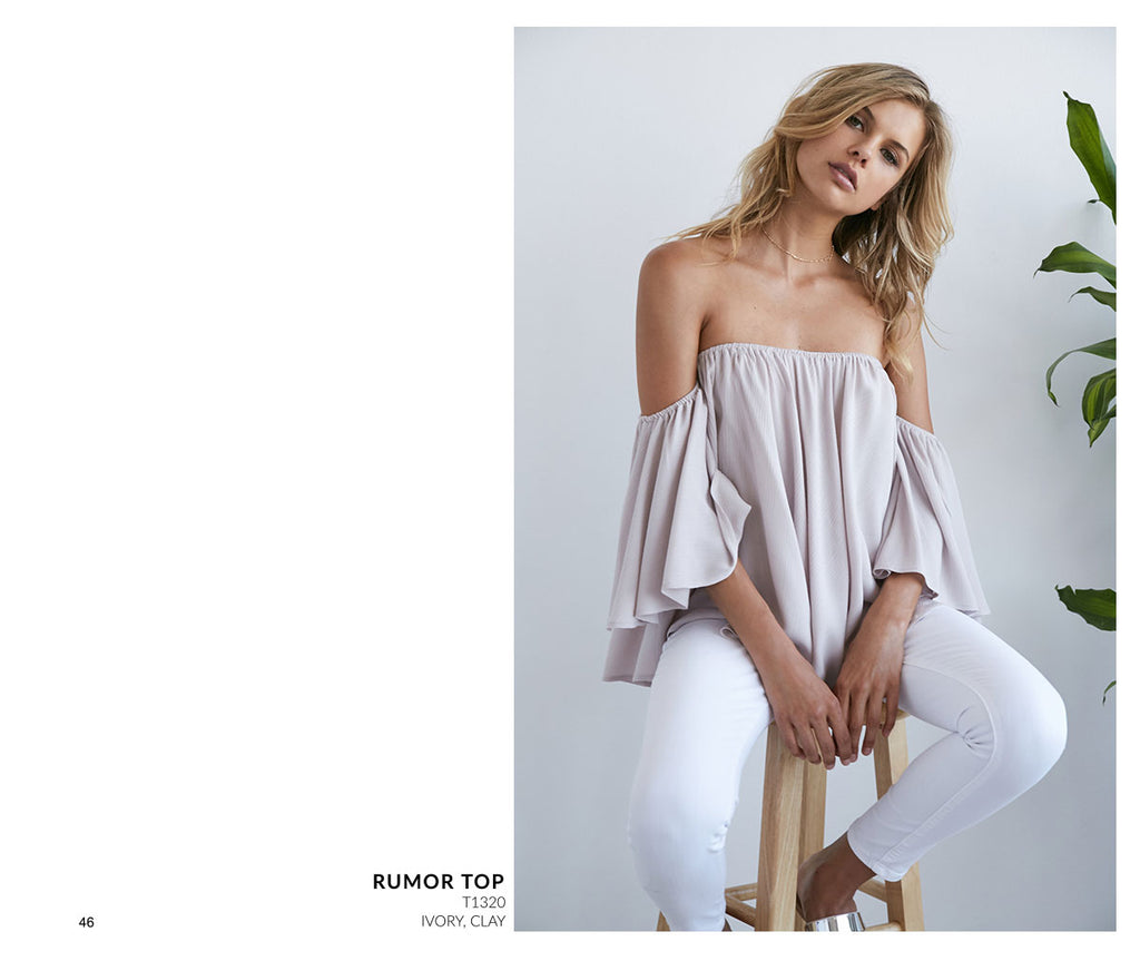 Noa Elle Resort 2017 - Oversized off the shoulder Bohemian top, Clay Gray