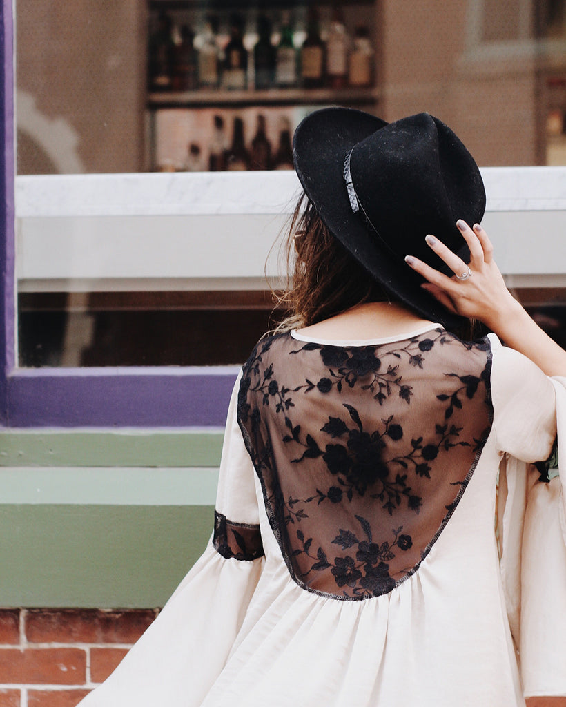 Rie Victoria Aoki in Noa Elle Melody Satin and Lace Boho Tunic