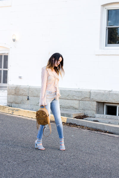 @shellystuckman in Noa Elle Nyla Lace Ruffle Top