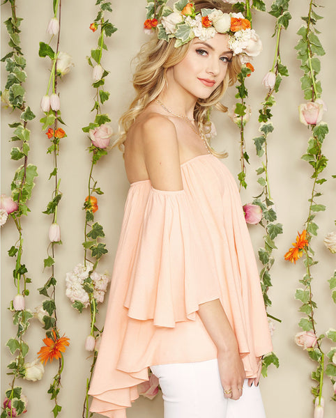 Noa Elle Spring Lookbook - Rumor off the Shoulder Gauze Top, peach