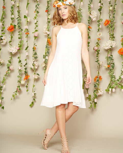 Noa Elle Spring Lookbook - Petal White Tiered Dress with lace