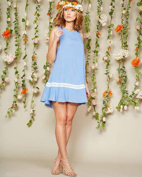 Noa Elle Spring Lookbook - Blue Lila Dress with White Trim