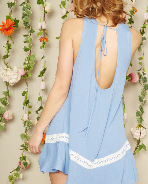 Noa Elle Spring Lookbook - Blue Lila Dress Open Back Tie Detail