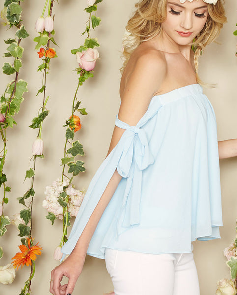 Noa Elle Spring Lookbook - Blue Angel Tie Off the Shoulder Top