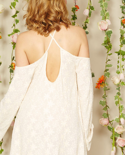 Noa Elle Spring Lookbook - Sage Off White Embroidered Dress Criss Cross Back